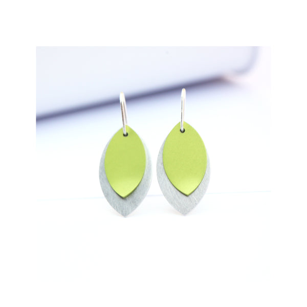 lime anodised aluminium leaf earrings