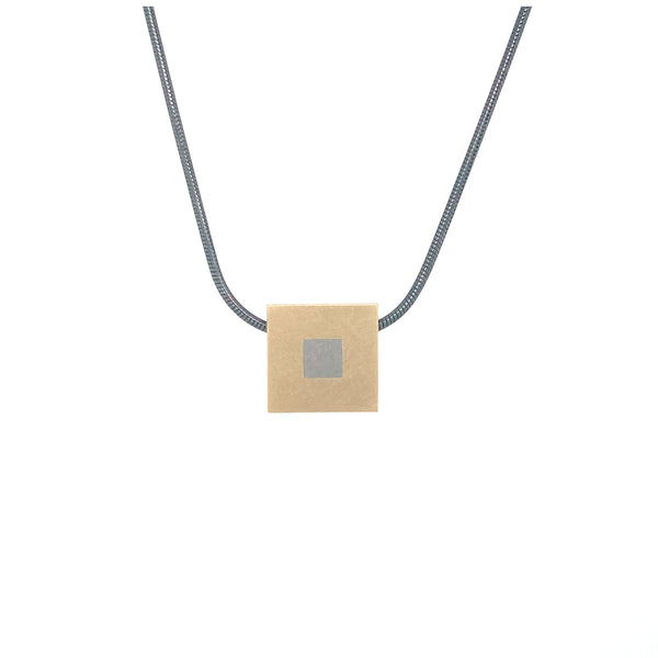Gold Mini Geometric 'Squares' Married Metal Pendant