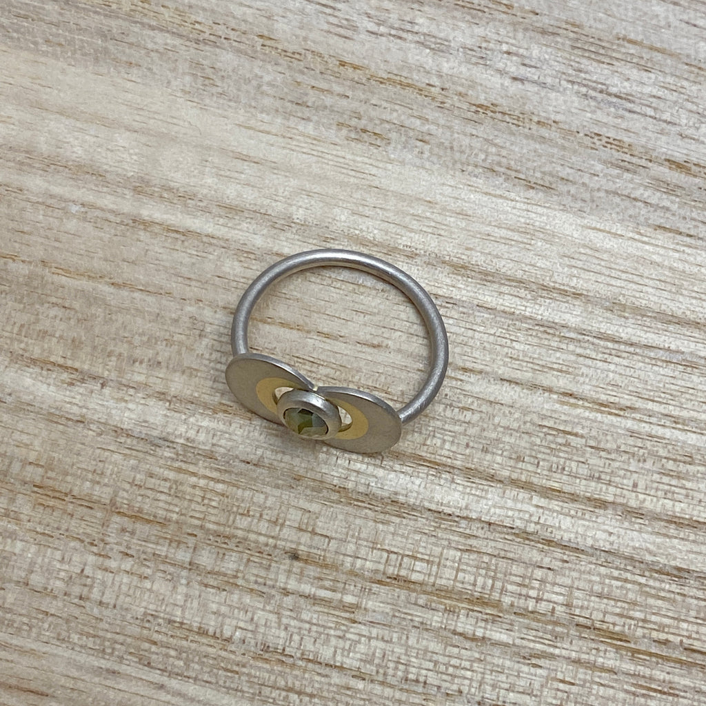 1 Off Sample - Gold & Rose Cut Yellow Diamond RIng