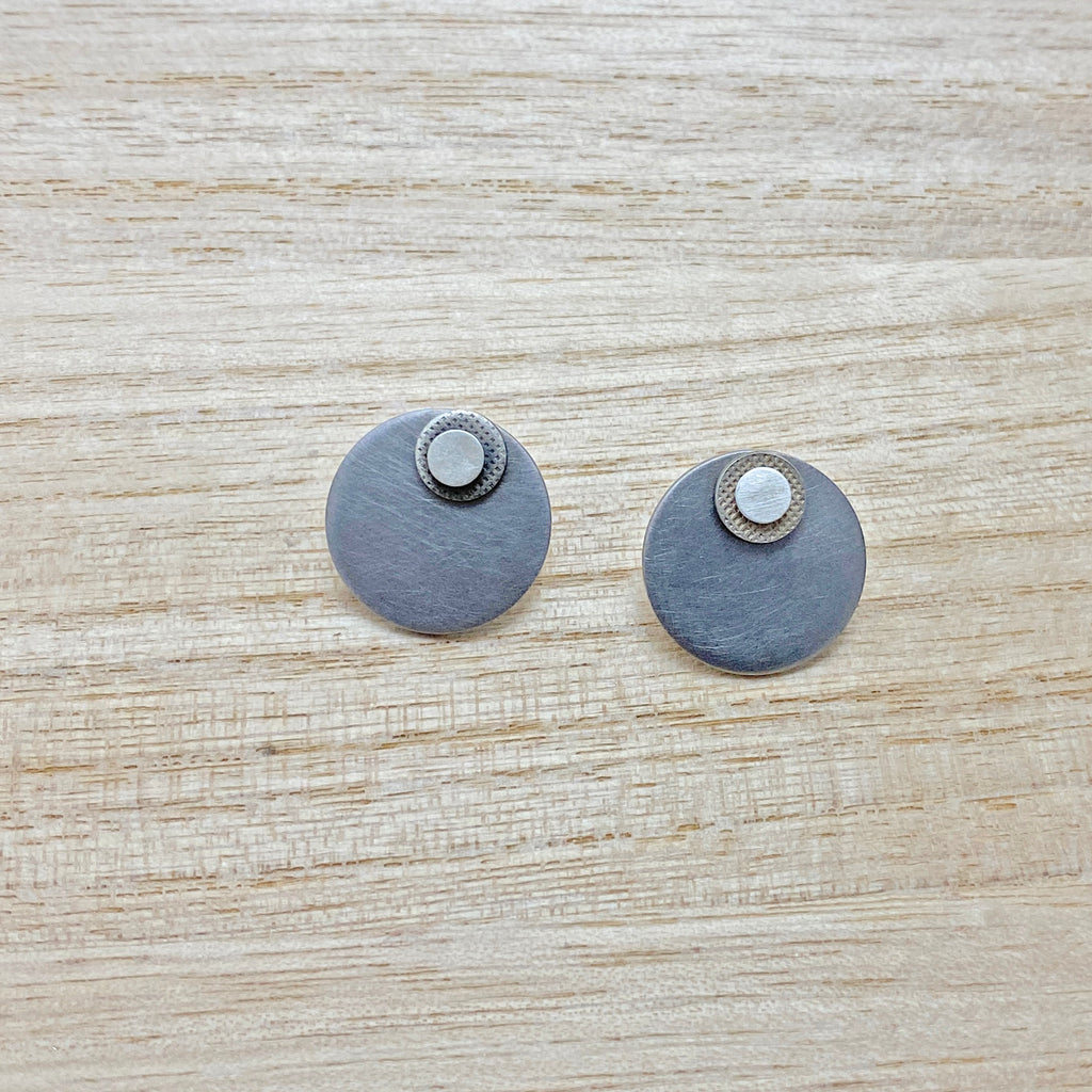 1 Off- 'Re play' Circle Stud Earrings