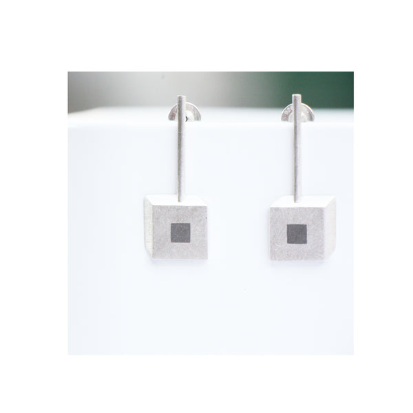 sterling silver perspective geometric square earrings