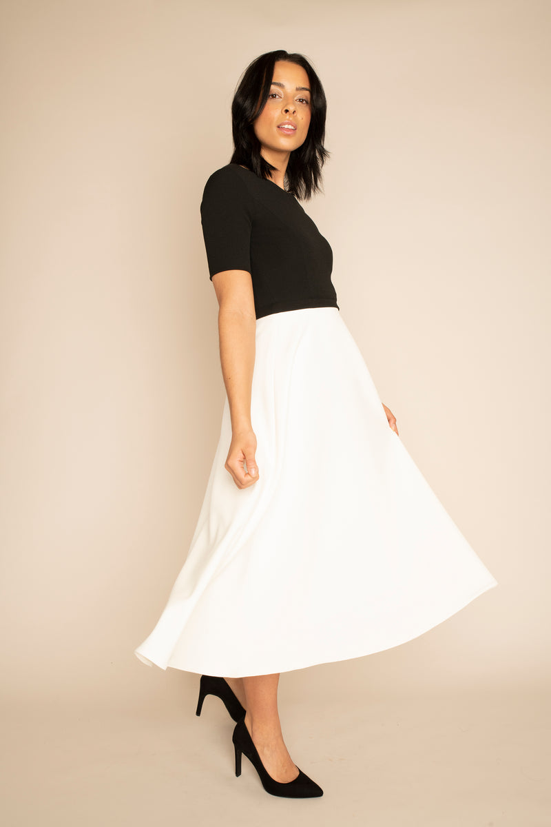 Black Sleeved Catherine Top with the Ivory Midi Elizabeth Skirt with our signature Careaux zip around the waist.