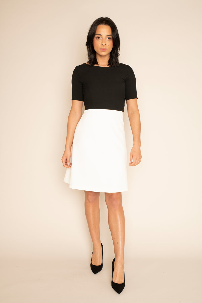 Black Sleeved Catherine Top with the Ivory A-Line Victoria Skirt with our signature Careaux zip around the waist.