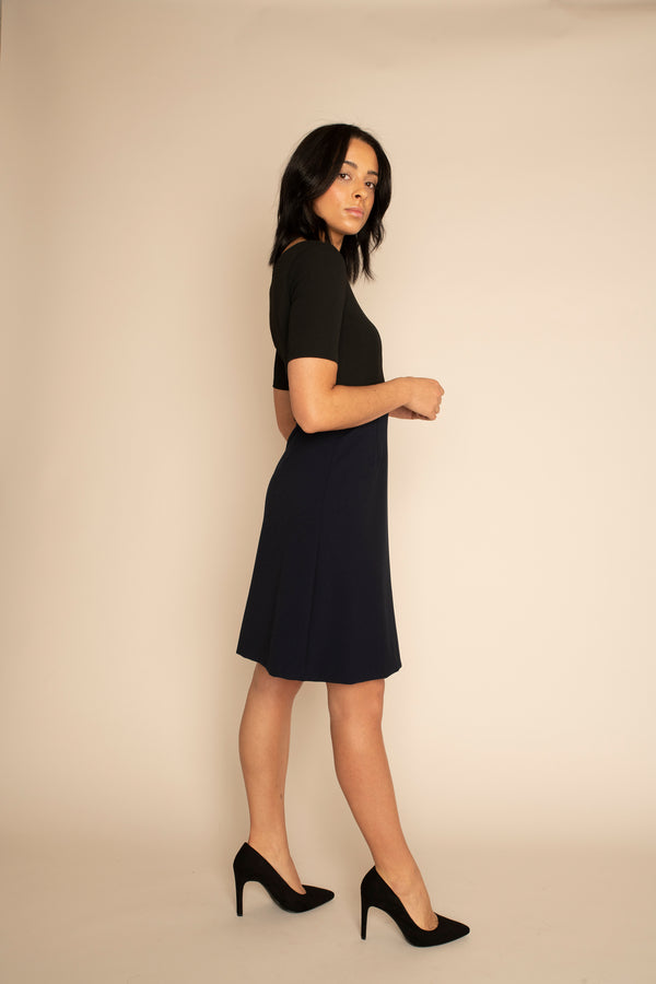 Black Sleeved Catherine Top with the Navy A-Line Victoria Skirt with our signature Careaux zip around the waist.