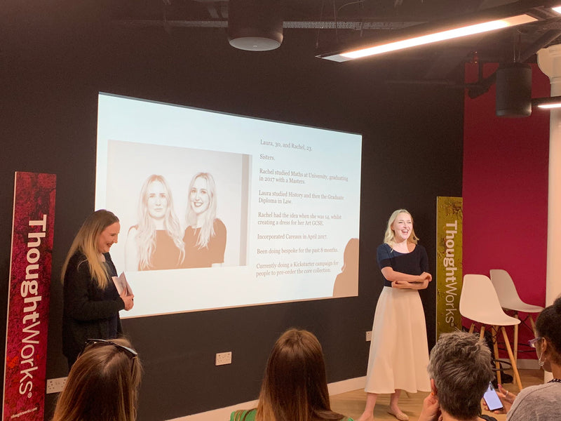 Laura and Rachel speaking at the female tech founder event.