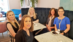 Tanya Nicol, Laura, Rachel, Kate Marlow and Jessica Jackson catching up after the Prince's Trust Later Pitches Event