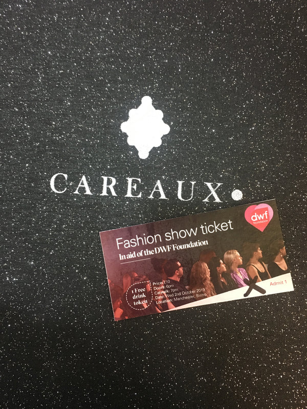 DWF Fashion Show Ticket on the Careaux box