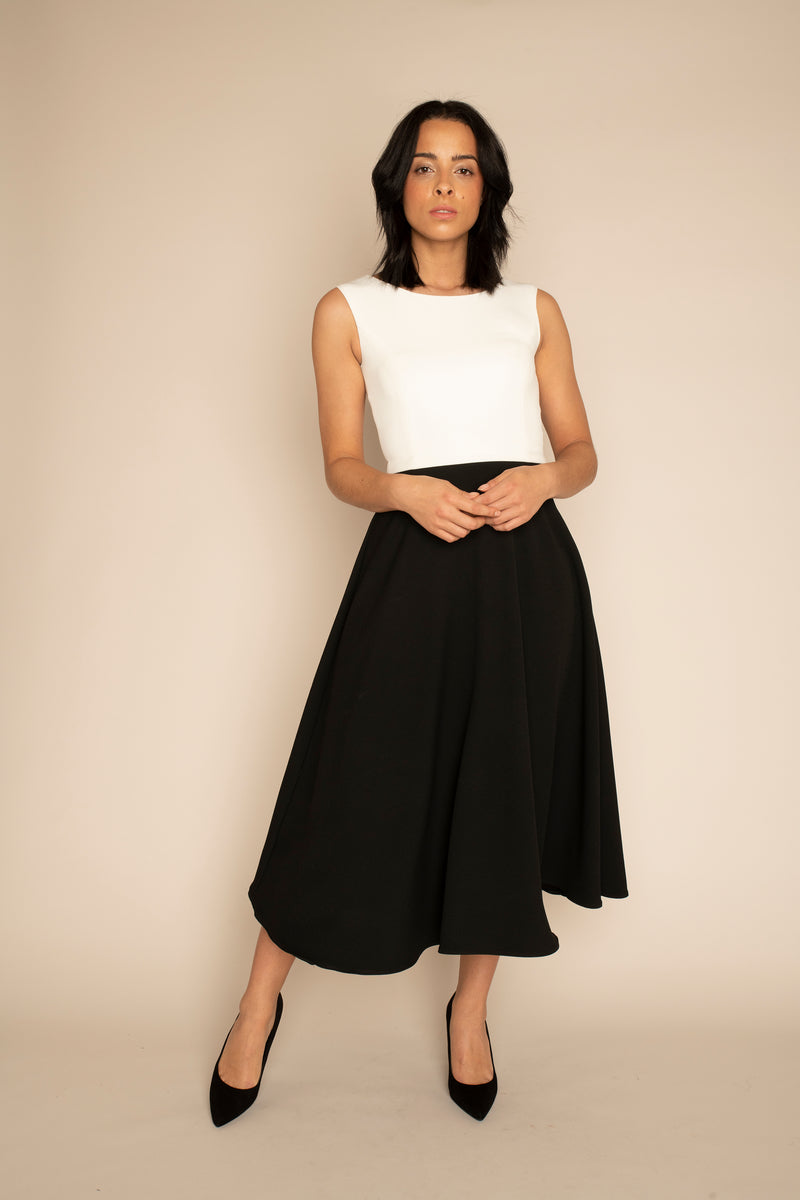 Ivory Sleeveless Eleanor Top with the Black  Midi Elizabeth Skirt with our signature Careaux zip around the waist.