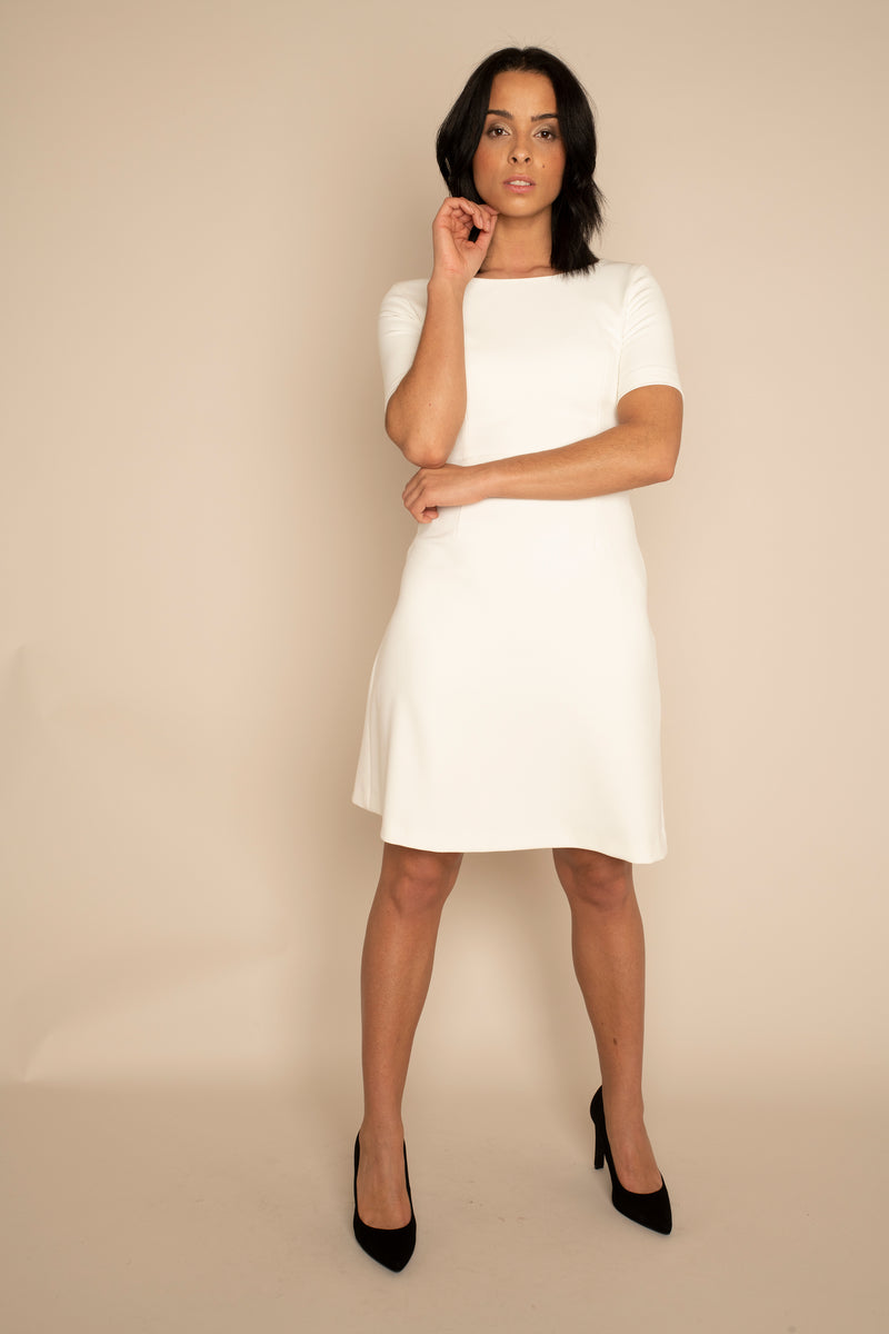 Ivory Sleeved Catherine Top with the Ivory A-Line Victoria Skirt with our signature Careaux zip around the waist.