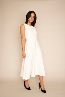 Ivory Sleeveless Eleanor Top with the Ivory Midi Elizabeth Skirt with our signature Careaux zip around the waist.