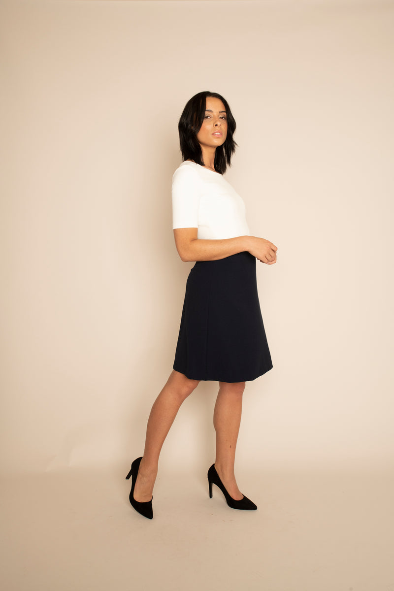 Ivory Sleeved Catherine Top with the Navy A-Line Victoria Skirt with our signature Careaux zip around the waist.