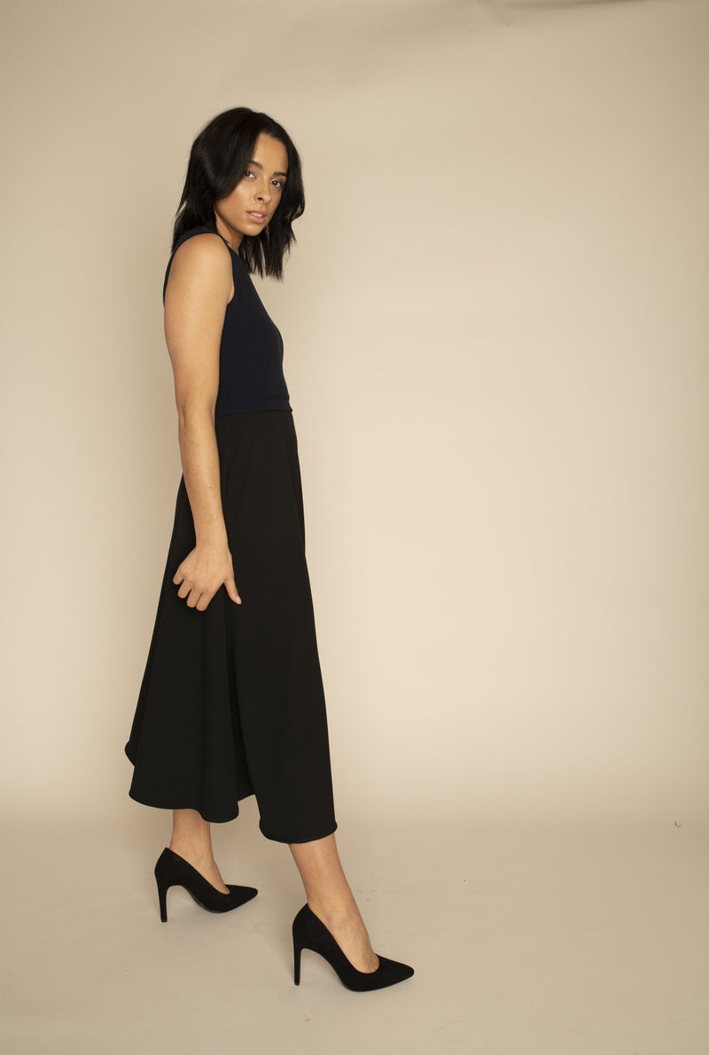 Navy Sleeveless Eleanor Top with the Black Midi Elizabeth Skirt with our signature Careaux zip around the waist.