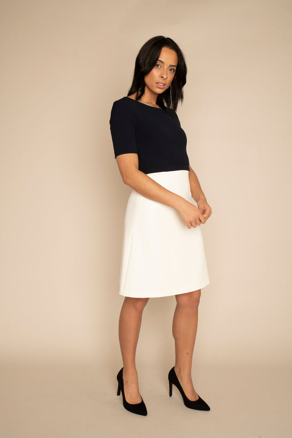 Navy  Sleeved Catherine Top with the Ivory A-Line Victoria Skirt with our signature Careaux zip around the waist.