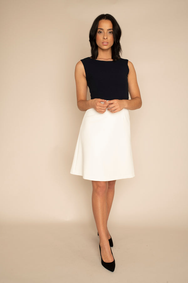 Navy Sleeveless Eleanor Top with the Ivory A-Line Victoria Skirt with our signature Careaux zip around the waist.