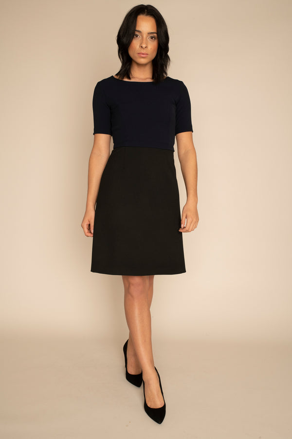 Navy  Sleeved Catherine Top with the Black A-Line Victoria Skirt with our signature Careaux zip around the waist.