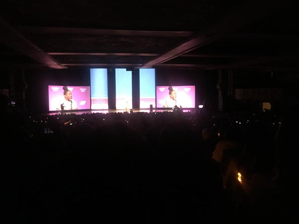A picture of the stage at The United State of Women conference.