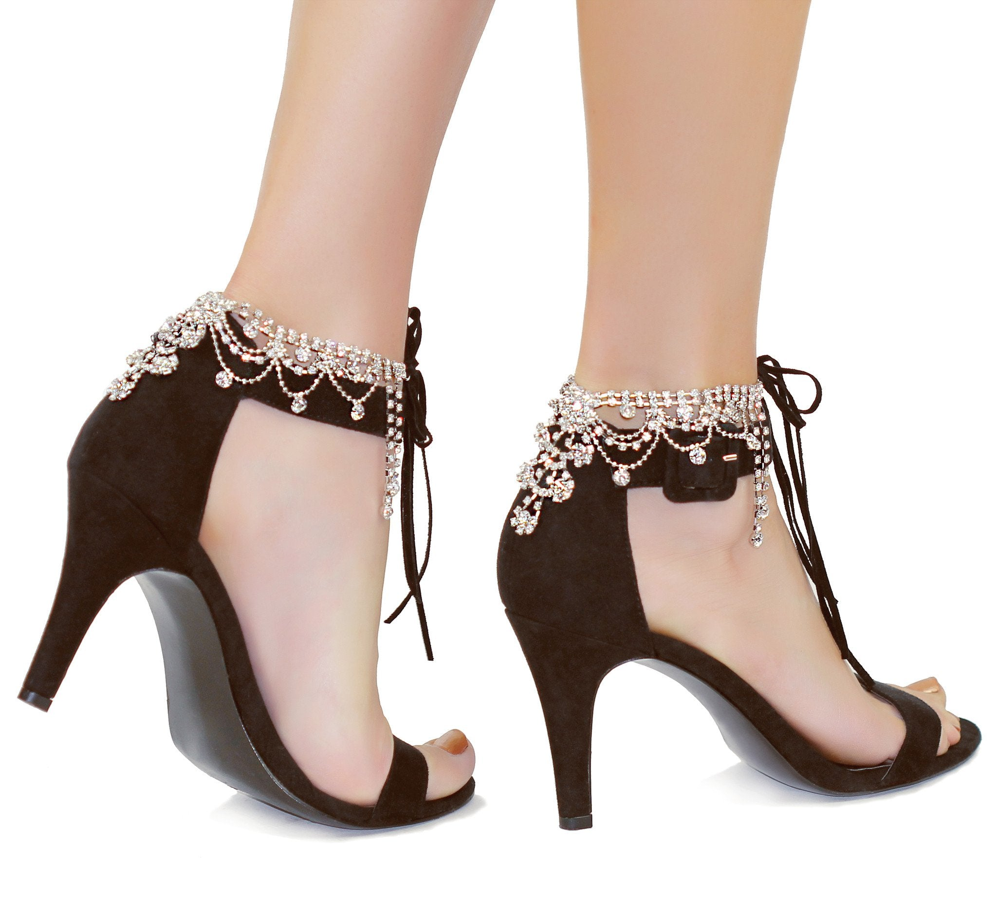 Draping Crystals Anklet - Amethyst Shoes