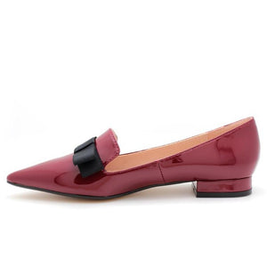 Patent Pointed Toe Ballet Flats (Wine)