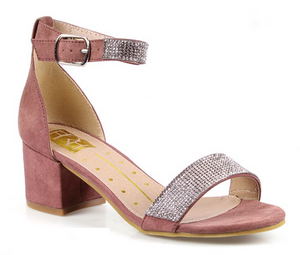 Leah Rose Taupe Rhinestone Block Heels - Amethyst Shoes