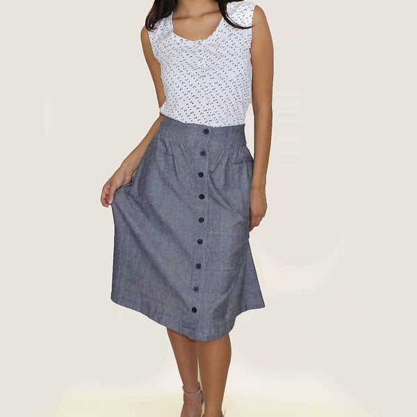 Button Front Chambray Skirt
