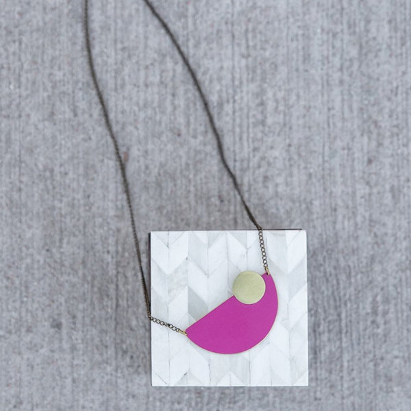 Semi Circle Necklace in Plum