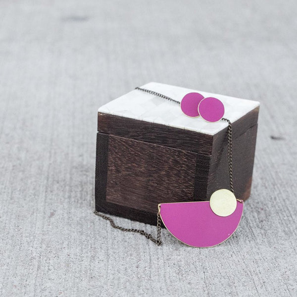 Plum and Brass Circle Studs