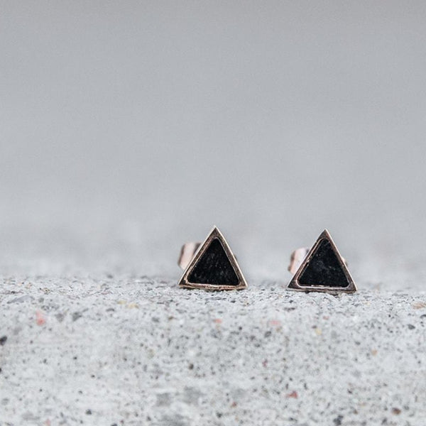 Black Agate & Rose Gold Triangle Studs