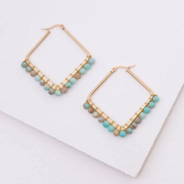Beaded Gold Diamond Hoops