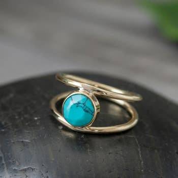 Brass Turquoise Ring with Double Band