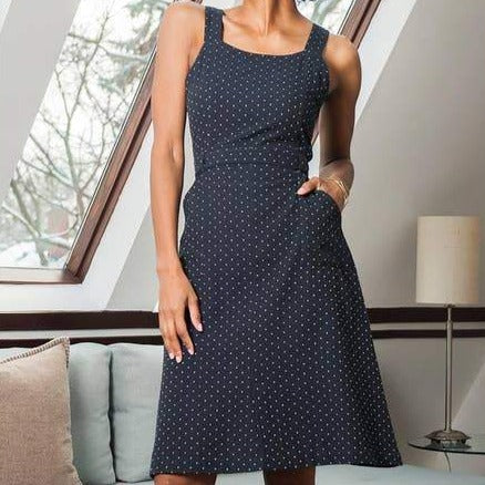 Navy Pinafore Polka Dot Dress