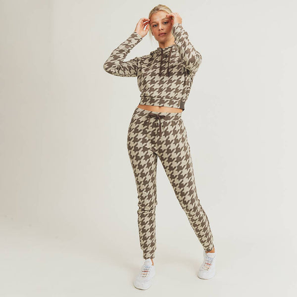 Houndstooth Fitted Joggers