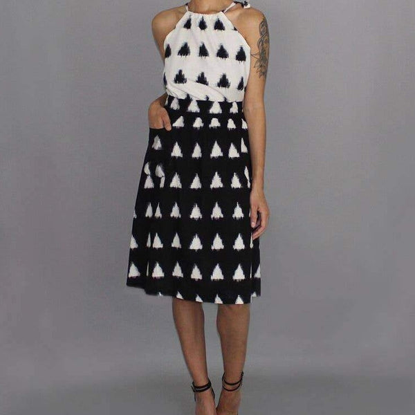 Triangles Midi Skirt in Black and White