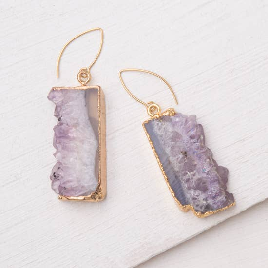 Rhianna Purple Agate Earrings