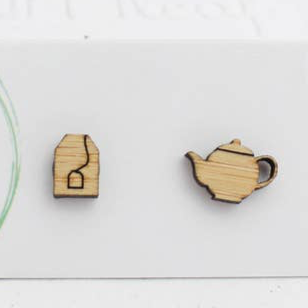 Tea Pot & Tea Bag Bamboo Studs