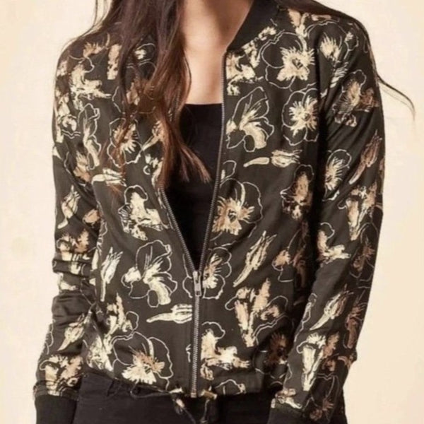 Block Print Bomber Jacket