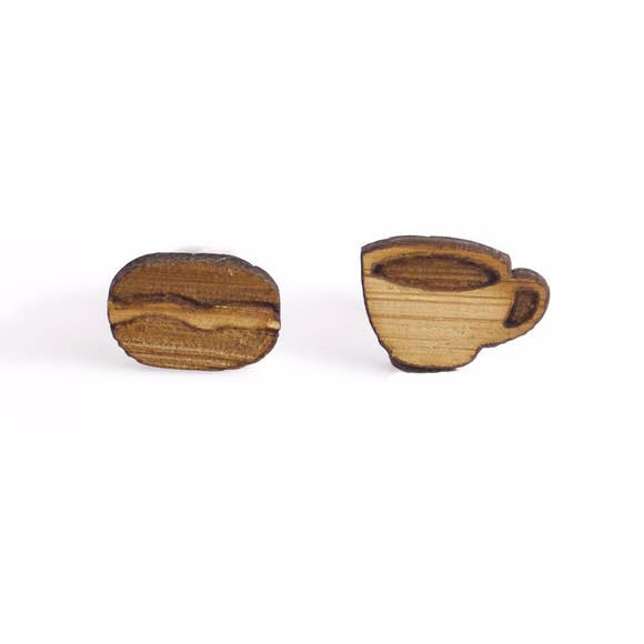 Coffee Cup and Bean Studs