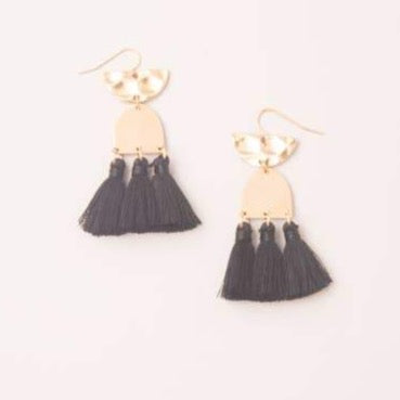 Midnight Black Tassel Earrings
