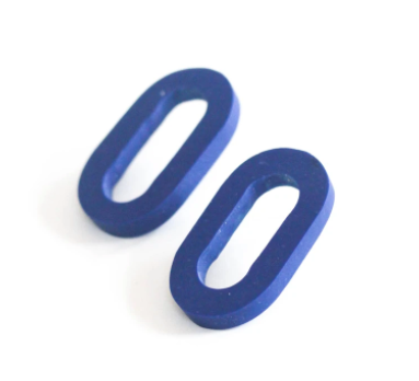 Oval Ultramarine Clay Earrings