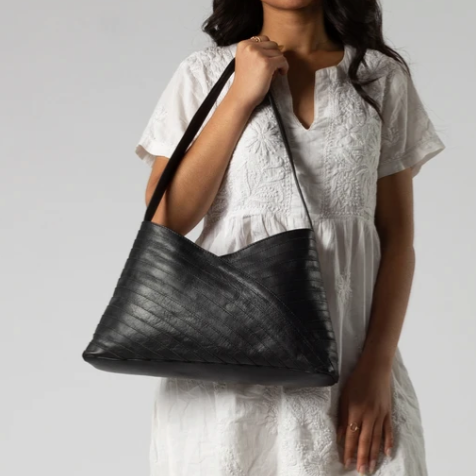 Crisscross Leather Shoulder Bag