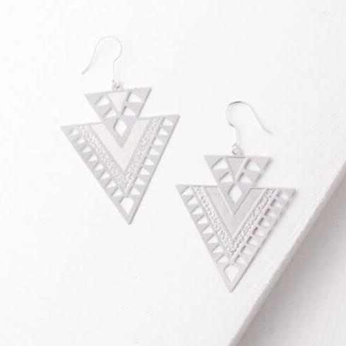 Cutout Double Triangle Earrings