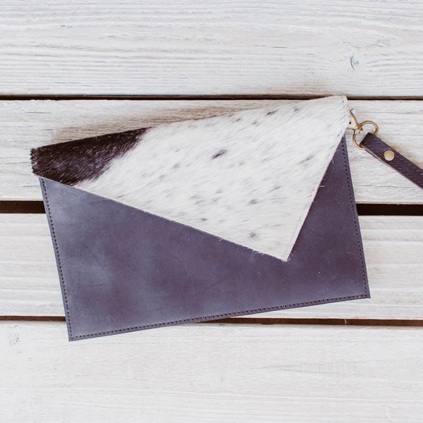 Leather Clutch with Genuine Animal Hide