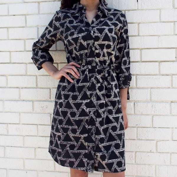Geometric Button Up Dress