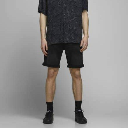 Jack & Jones Black Indigo-Knit Shorts