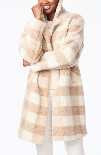 Faux Sherpa Plaid Coat