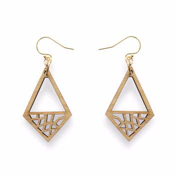 Geo Diamond Bamboo Earrings