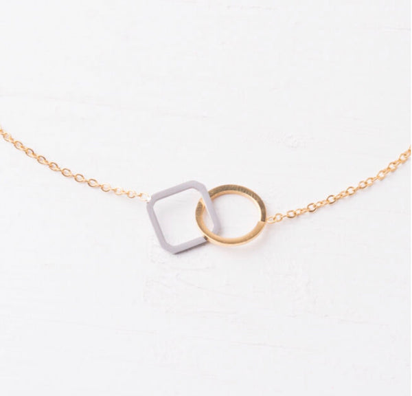 Caprice Circle and Square Pendant Necklace
