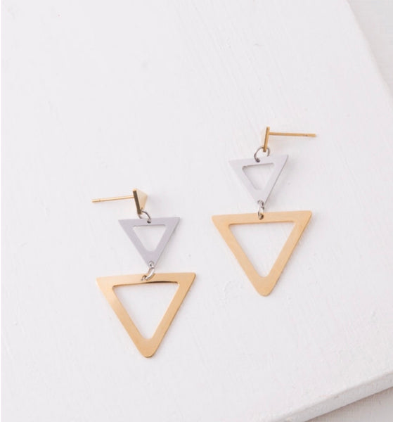 Stainless Steel Triangle Dangle Earrings