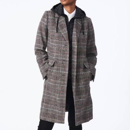 Plaid Bib Wool Coat