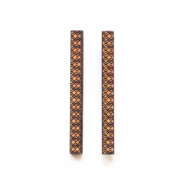 Long Patterned Bamboo Studs