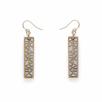 Geo Rectangle Bamboo Earrings